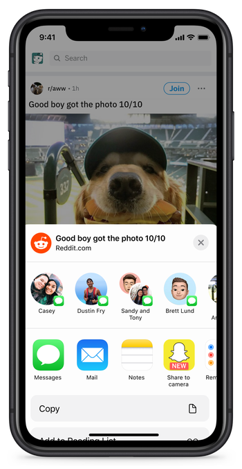 Reddit now lets iOS users share to Snapchat   TechCrunch