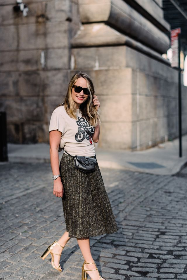 787db9845a3b Vintage Tee + Metallic Skirt. | The Stripe | Bloglovin'
