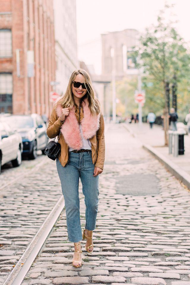 38bb6d7bcdf6b leather jacket    tee    fur    jeans    heels