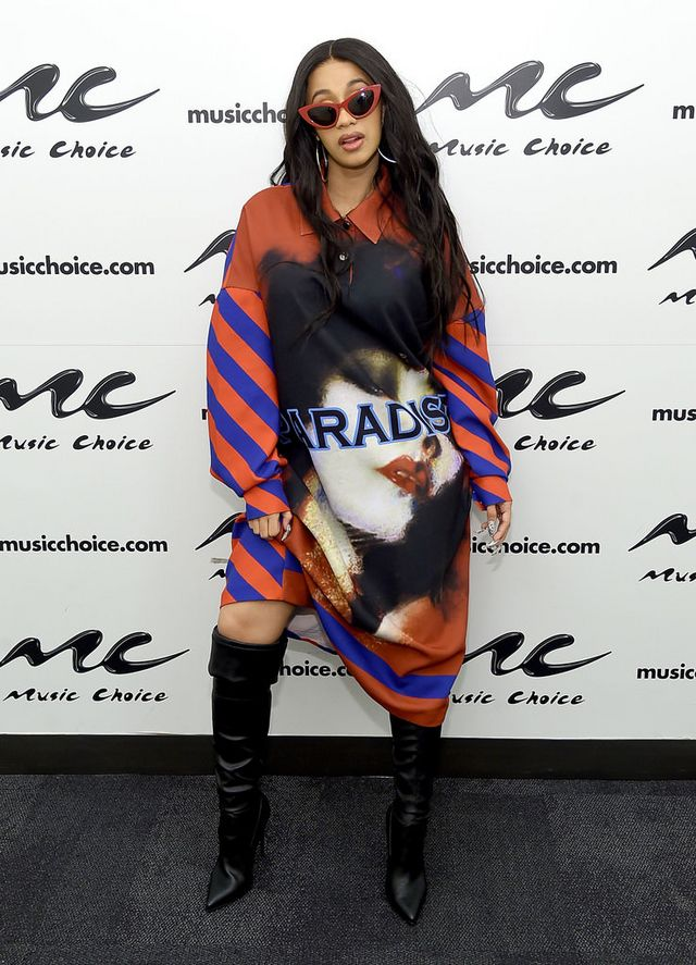 7ca9eef310ef Cardi B Visits Music Choice in New York City, Doing Maternity Style Her Way