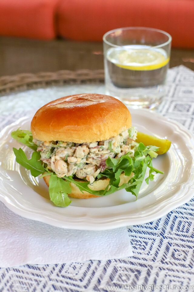 """Classic Chickpea """"Chicken"""" Salad   A Healthy Slice of Life"""