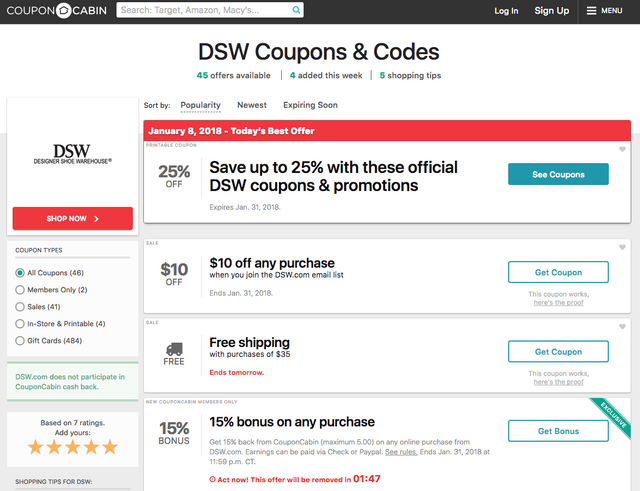 4c079d87 ... at the top just like you did on Dealspotr and Groupon. Type in and  choose DSW. Let's cross our fingers that CouponCabin will have a few  working promo ...