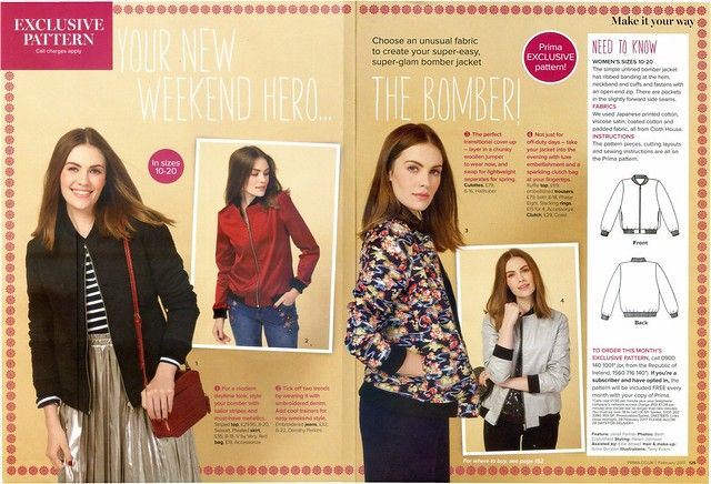 PRIMA Magazine - February 2017, Bomber Jacket | Sew, incidentally ...