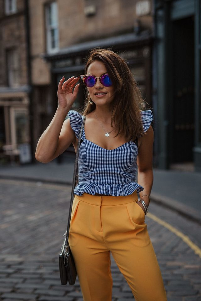 2ac1f05fbf ... come in lilac and green) | NEW LOOK gingham top | ZARA studded biker  (similar and similar) | H&M nude sandals | FENDI sunglasses | COACH silver  bag