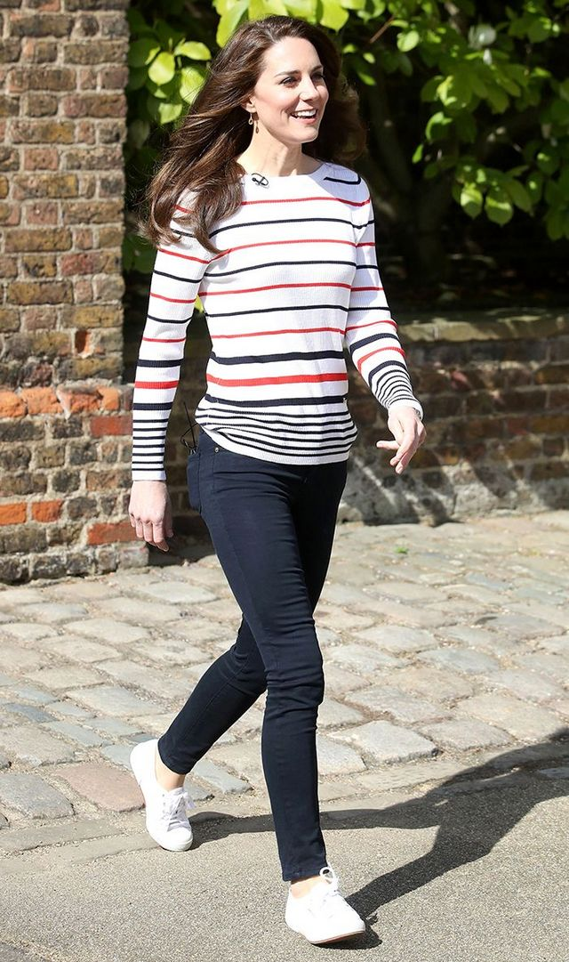 4e0512b674 On Kate Middleton: Luisa Spagnoli Pullover ($280, available in blue);  Superga Cotu Classic Sneakers ($65).
