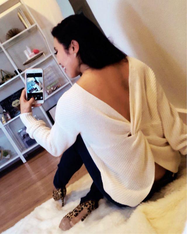 97c9b113f3 Top  LOFT Twist Back Sweater (XS) – on sale! (similar