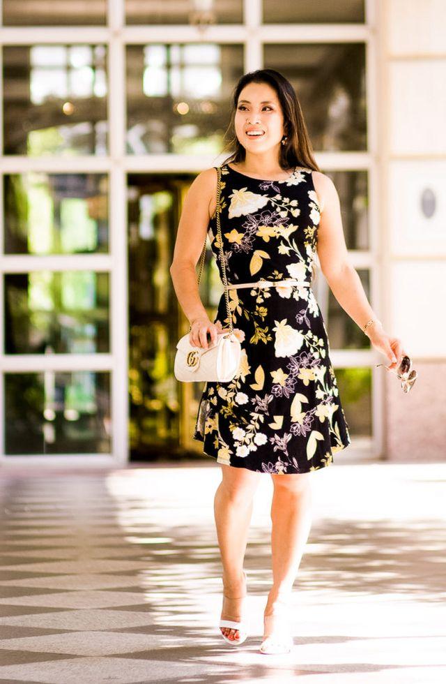 62be6fe226 LOFT Golden Floral Flare Dress