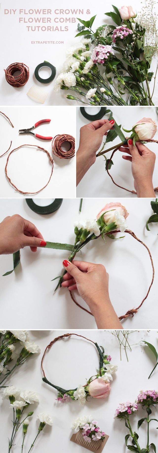 Flower crown comb diy tutorial bridal shower activity extra covered wire to mimic the look of twine and floral tape i got both of these at joanns but should be available at most large craft stores or amazon izmirmasajfo
