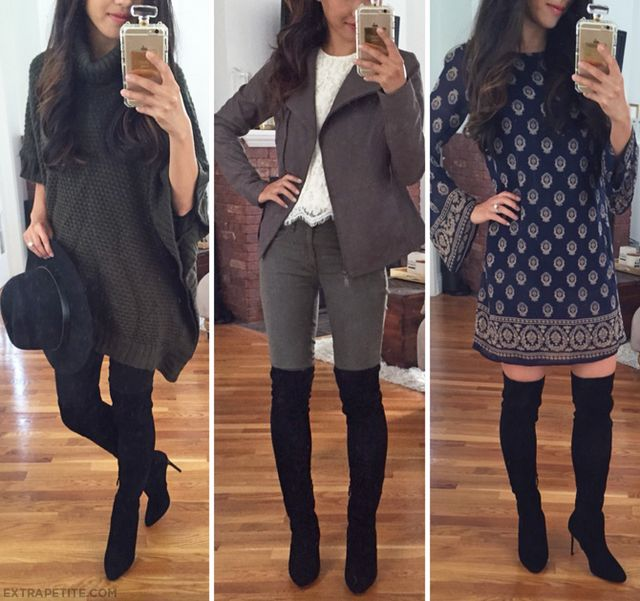 031ef406dc4 A few easy ways to style over-the-knee boots  1. With leggings oversized  sweater poncho (old F21 from this post) 2. With skinny jeans moto jacket  (scroll ...