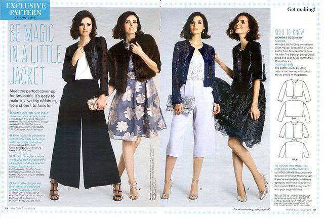 PRIMA Magazine - January 2016, Cropped Jacket | Sew, incidentally ...