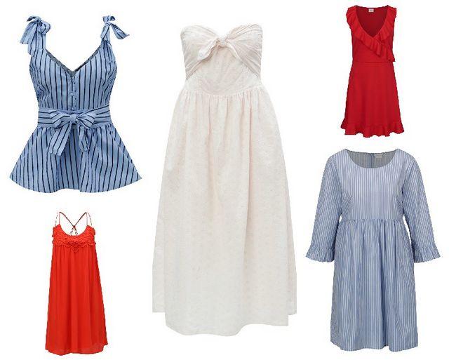1. modrá pruhovaná halenka   2. červené šaty   3. světle růžové midi šaty    4. červené šaty s volány   5. modro-bílé pruhované šaty a5d0d5ad98