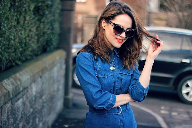 36d1bc33 MISS SELFRIDGE denim shirt dress (now sold out, verrry similar here!) |  MISSGUIDED thigh high boots | WHISTLES cat eye sunglasses (sold out, ...