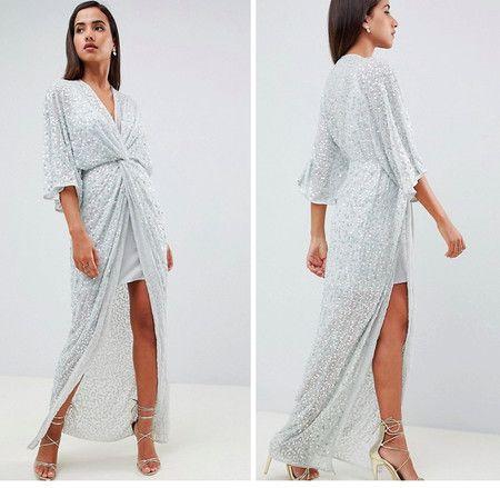 cada7f1df7 Vestido largo estilo kimono con nudo delantero y detalle de lentejuelas de  ASOS DESIGN en ASOS por 109