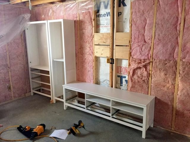 Custom Built-in Entertainment Center hacked from HEMNES units | IKEA ...