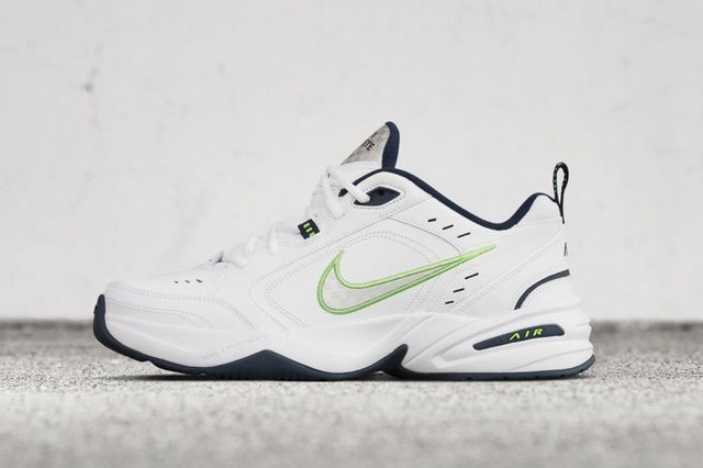 super popular c44c7 7b770 The Nike Air Monarch IV Gets Dressed in Crisp White, Lime Green and Navy  Blue