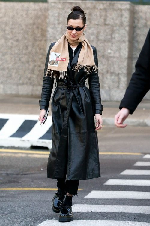 33f85b7753b1 Bella Hadid s Long Leather Coat Is An Unexpected (But Brilliant ...