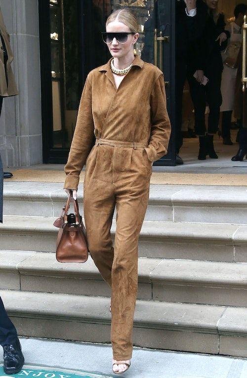 01c556c0a4 Rosie Huntington-Whiteley s Suede Jumpsuit Makes Winter Dressing ...