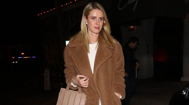 69b34953df0 Nicky Hilton s Teddy Bear Coat Looks SO Polished