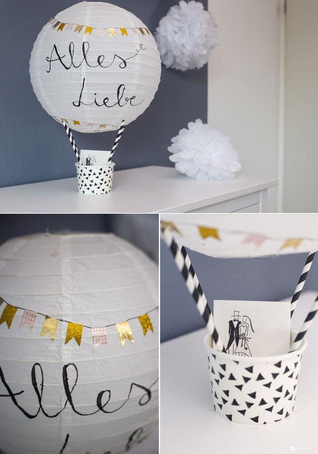 DIY Geschenkidee zur Hochzeit: Heißluftballon Geldgeschenk basteln ...