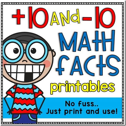 10 and–10 Math Facts Printables | Doodle Bugs Teaching | Bloglovin\'