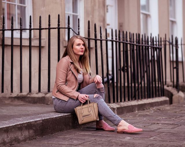 845e1a8235e29 Allsaints Dalby Leather Jacket in Blush Pink Outfit Is this my first proper  Spring outfit of the year? I think it is, and it only took until mid April  to ...
